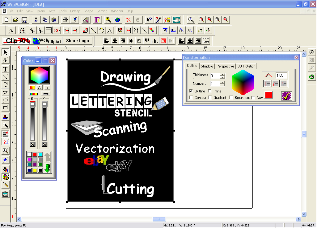 Sign maker and vinyl cutter software for cutting plotters