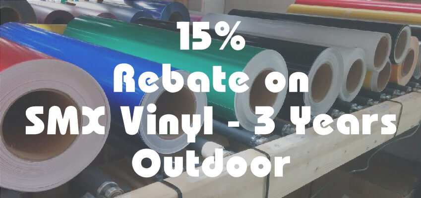 15% rebate on SMX vinyl - 3 years outdoor