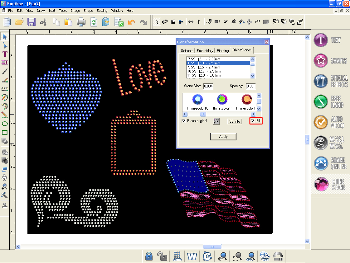 Brand New software Funtime Strass Rhinestone crystal patterns Silhouette CAmeo